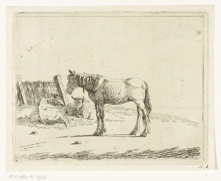 Landschap met paard en twee koeien bij hek, Cornelis Bisschop (1762-na 1827), 1772 - na 1827