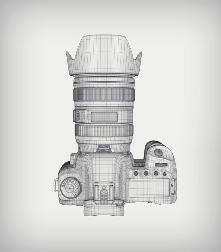 Canon 5d MKII Camera Top View Wireframe