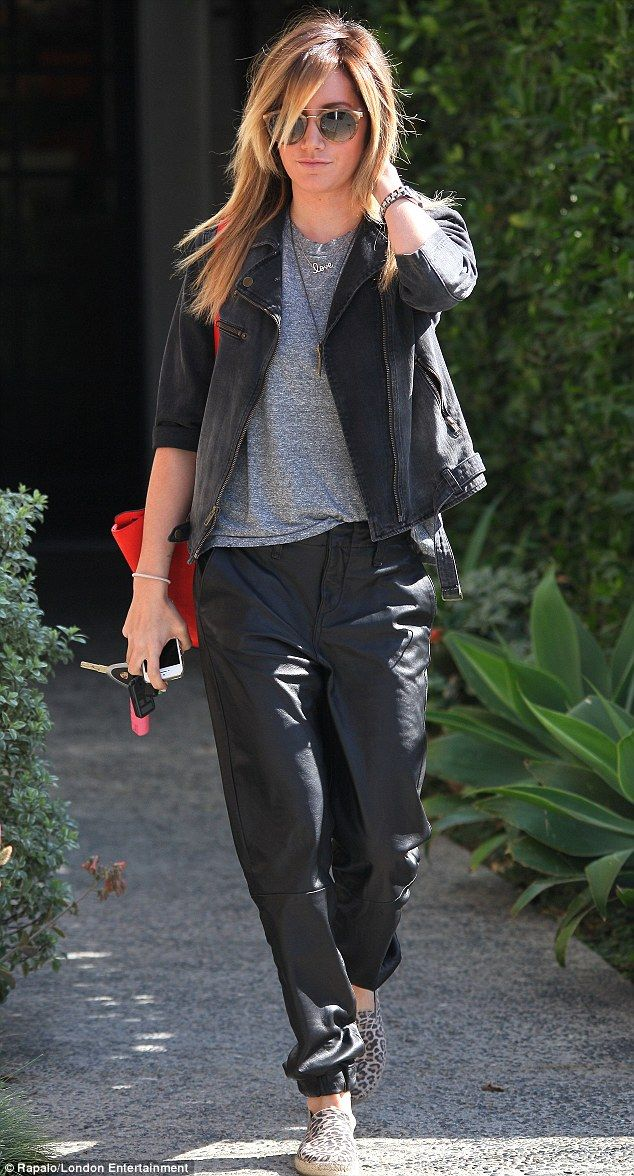 Shabby chic: Ashley Tisdale visits favourite hairdresser in West Hollywood in baggy pants and displays dark roots