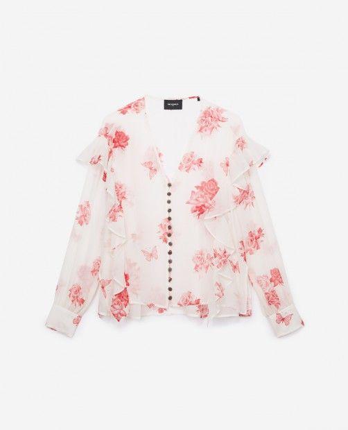 867730d1339f Ecru silk top with Rosie Wide print - THE KOOPLES