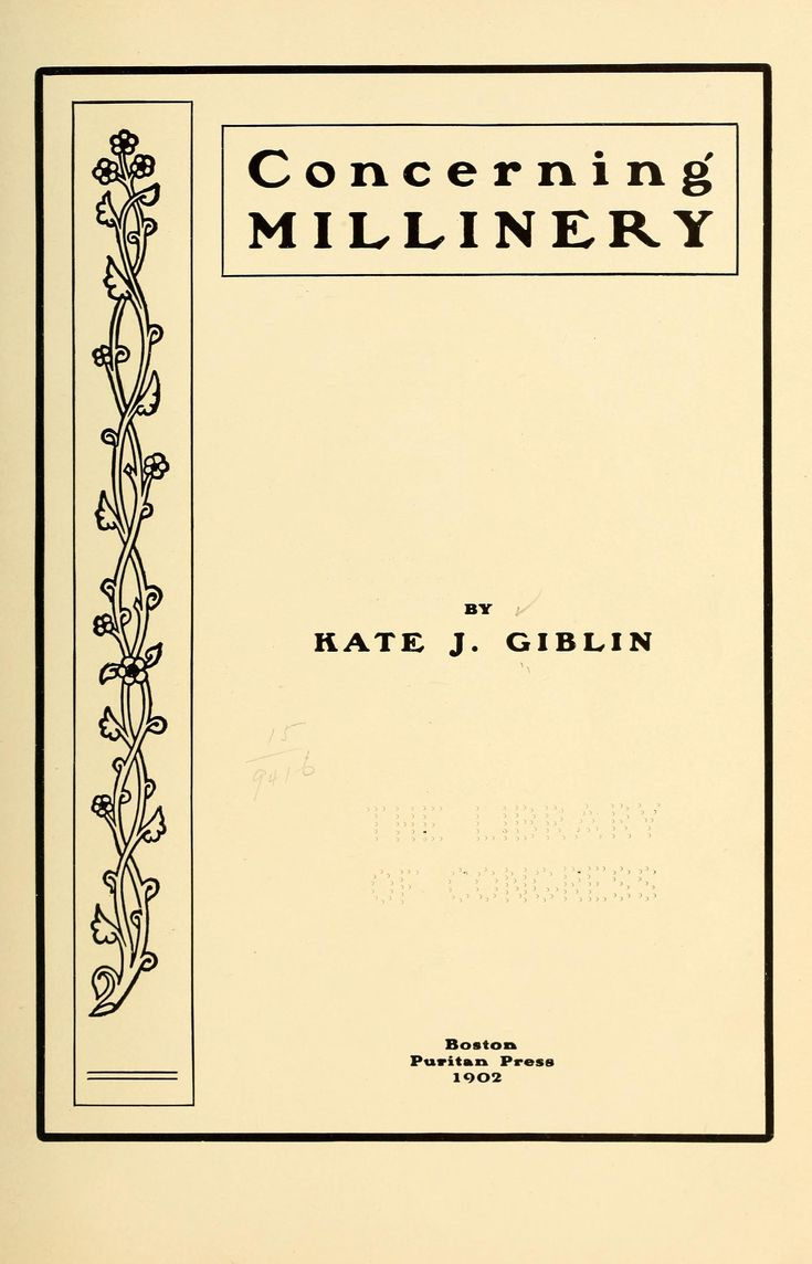 Concerning millinery