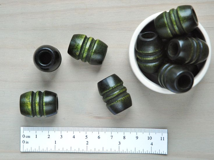 Macrame Beads // Large Wooden Beads // Large Hole Beads // Dark Green Stained Wood Macrame Beads // Package of 5 // W094 by VintageLoopSupplies on Etsy