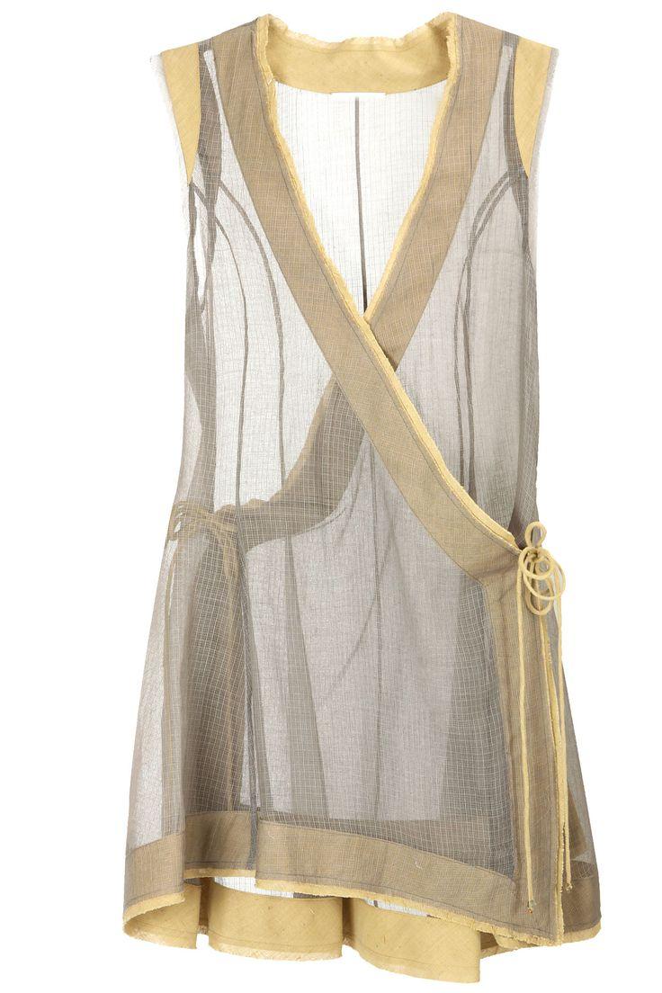Grey sheer angrakha style tunic BY URVASHI KAUR.
