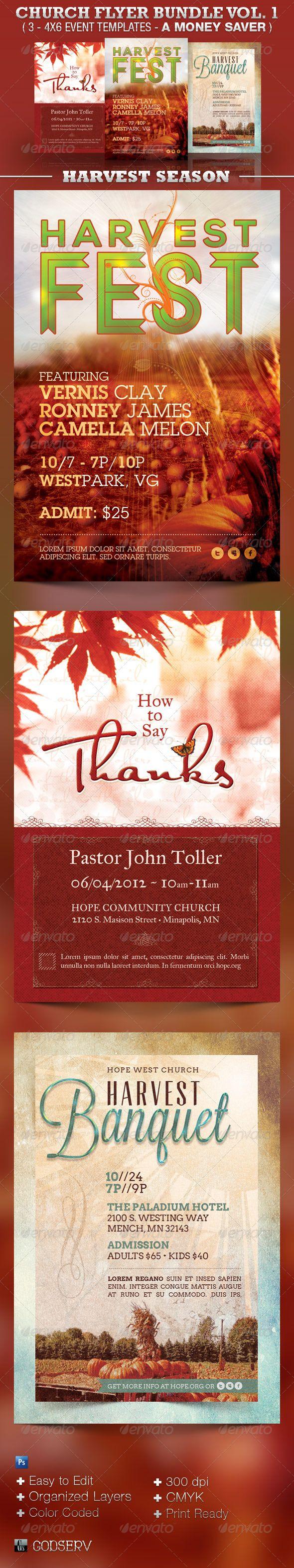 17 best images about church print samples program church flyer template bundle vol 1 harvest 12 00