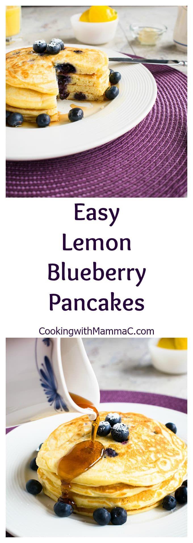 Easy Lemon-Blueberry Pancakes - A delicious breakfast or even dinner!