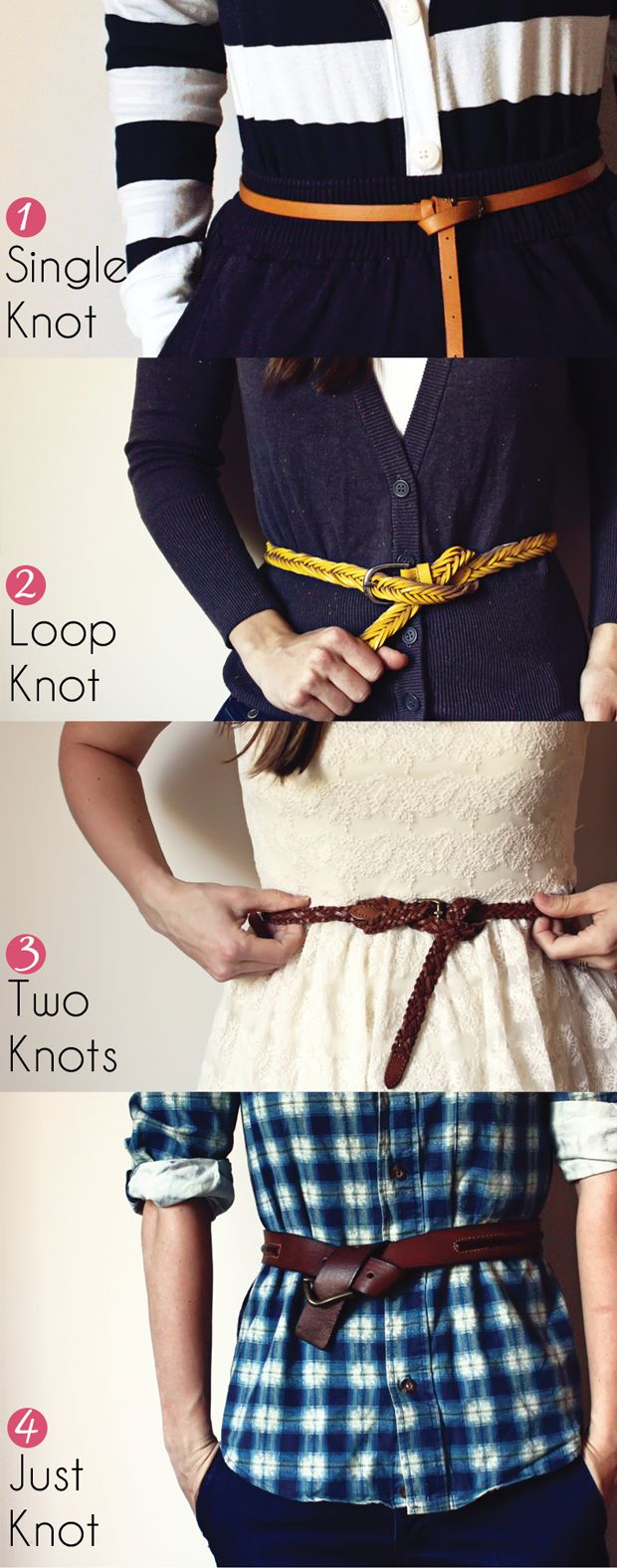 4 ways to knot a belt. Good to finally know!
