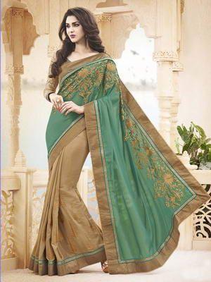 «Бежевое и зелёное лёгкое индийское сари из шифона, украшенное вышивкой люрексом с бусинками