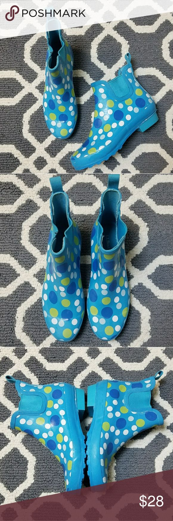 L.L. Bean Ankle Blue Polka Dot Rain Boots L.L. Bean Ankle Height Rain Boots  Bright blue with white, dark blue, and green polka dots  Some wear on the inside, but no holes, and the soles and outside are in great condition   Women's Size 9 L.L. Bean Shoes Winter & Rain Boots