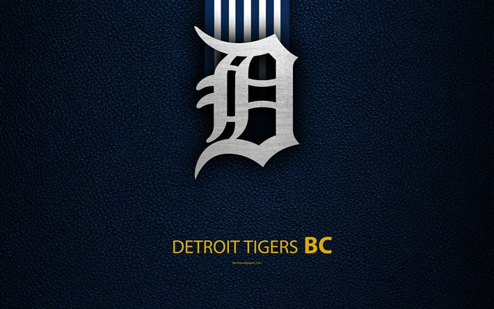 Download wallpapers Detroit Tigers, 4K, American baseball club, Central Division, leather texture, logo, MLB, Detroit, Michigan, USA, Major League Baseball, emblem