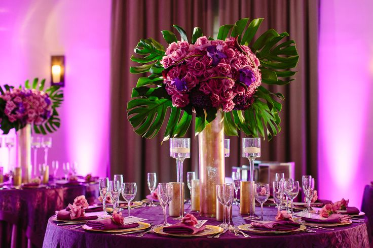 Ace Young + Diana DeGarmo | Luxe Hotel Sunset Blvd | Brian Leahy Photography #wedding #uplights #purple #pinspot #centerpiece #dancefloor #gobo #polkadot #colorwash #lighting #americanidolwedding