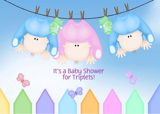 Triplet Baby Shower Invitation Boys And