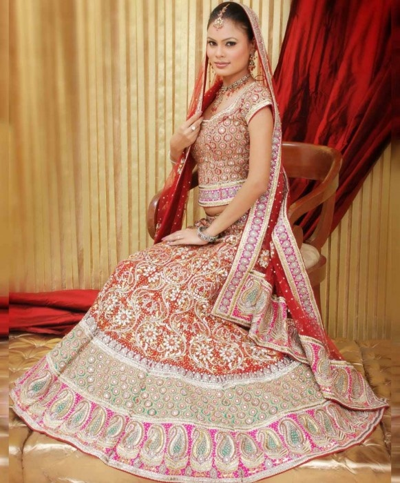 Red and Pink Georgette Wedding Fish Tail Lehnga