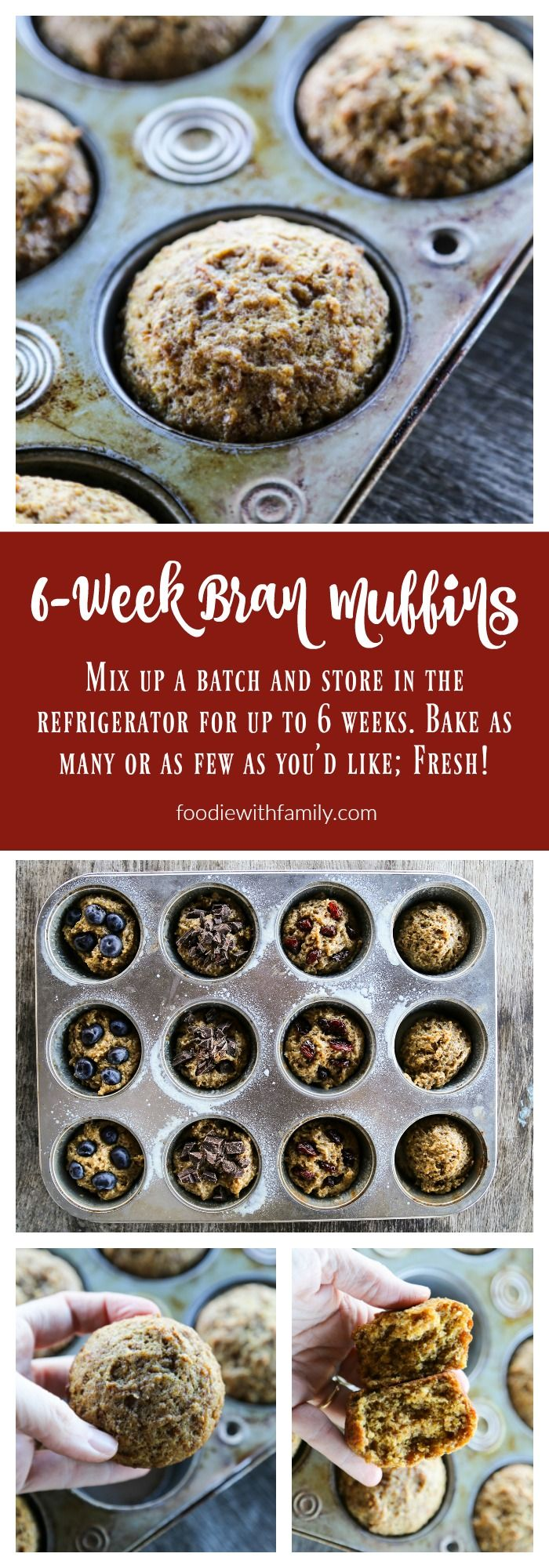 6-week Bran Muffins. Mix up this simple bran muffin batter and store it in your refrigerator for up to 6 weeks, baking as few or as many muffins as you'd like fresh when you want them! Bake plain or add in blueberries, dried fruits, or chocolate!