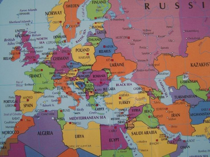 Europe Middle East and Russia Flat Map