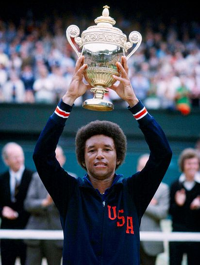 Arthur Ashe, winning Wimbledon in 1975