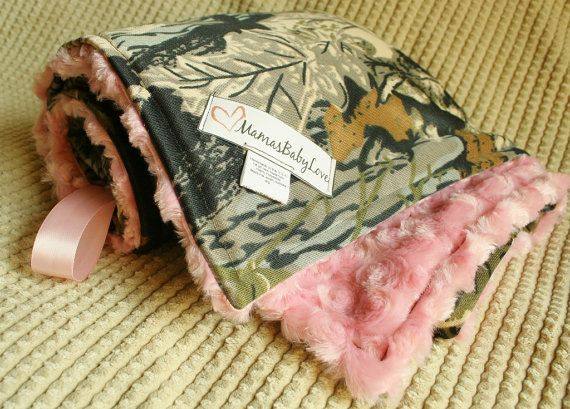Realtree Camo Blanket and Pink Minky Swirl by MamasBabyLove,
