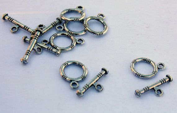 20 Vintage Clasps  Silver Alloy Clasps  Toggle by ThisPurplePoppy, $3.75