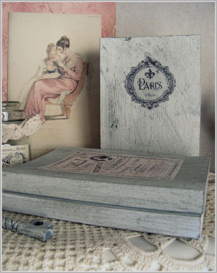 How to give books a shabby chic look: http://hetknussehoekje.blogspot.be/2015/04/boeken-schilderen-en-bekleden-met-stof.html