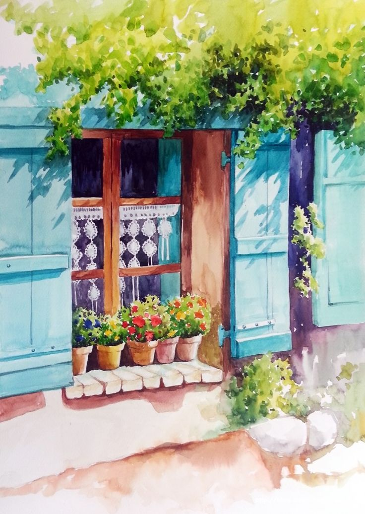 푸른 색감이 청명하고 아름답게 나왔어요.상큼한 수채화의 느낌이 고스란히 그림에 담겼어요. 수채화의 번...
