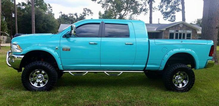 Bright Light Blue Dodge Cummins Mega Cab