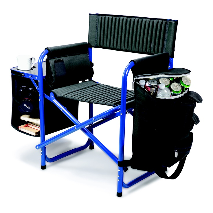 I would love to have one of these to take camping. Picnic Time Fusion Chair, Dark Gray with Blue