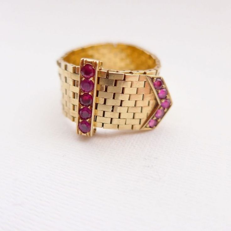 Vintage Retro Art Deco Belt Buckle Ring set with Rubies Fabulous unusual ring made from flat chain brick laid links all fully articulated so that it