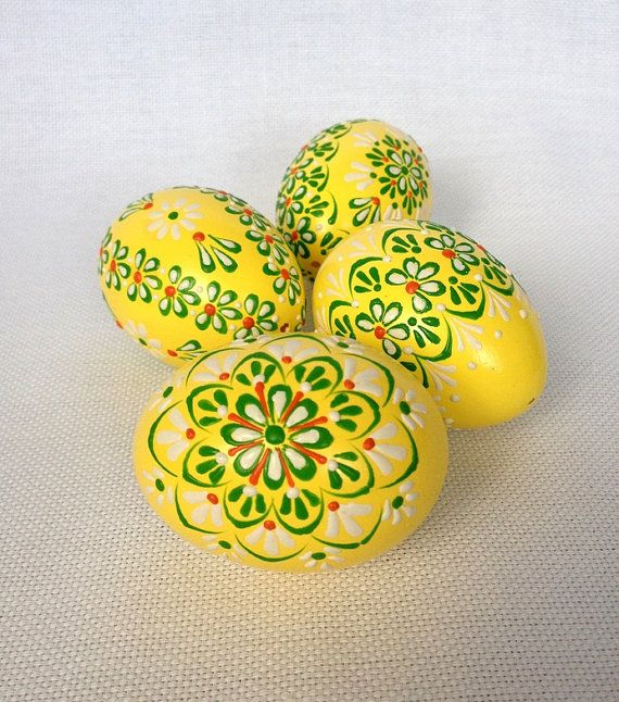 Set of 4 Yellow Hand Decorated Colours Painted by VeryAndVery