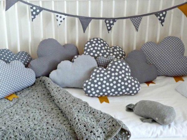 Kinderzimmer kissen Deko selber machen wolken Mehr