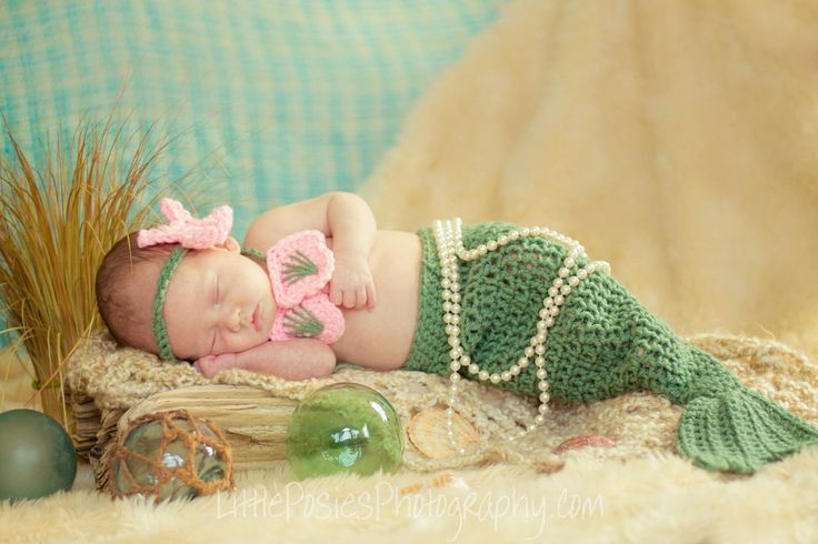 Crochet Newborn Mermaid Photo Prop Set Baby by JustForBabyWithLove, $35.00