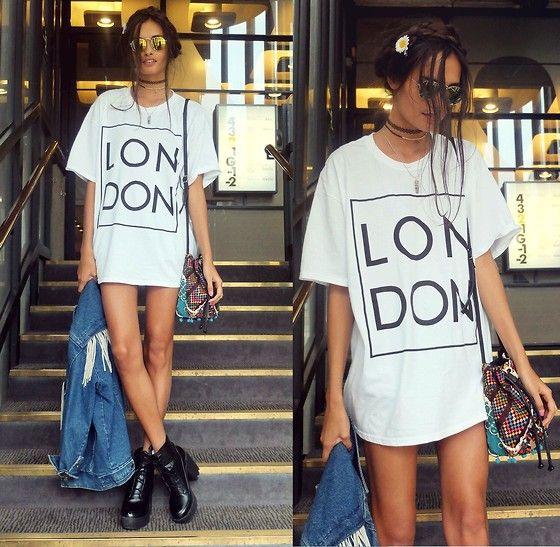 Gizele Oliveira - River Island T Shirt, Topshop Bag, Asos Boots - LON DON