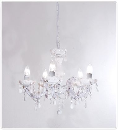 Marie Therese 5 Light Chandelier - White, Pendants, Crystal Chandeliers, New Zealand's Leading Online Lighting Store