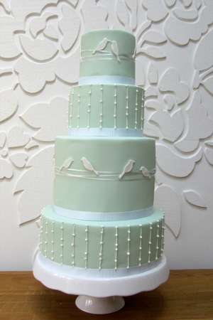 Sage green bird silhouette cake
