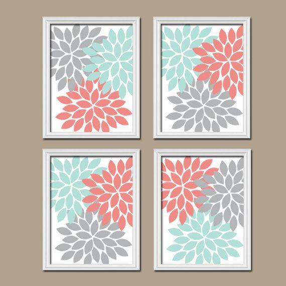 Coral Aqua Gray Grey Flourish Design Artwork Set of 4 Prints Dahlia Bloom Flower Burst Bedroom WALL Decor Floral ART Pictures