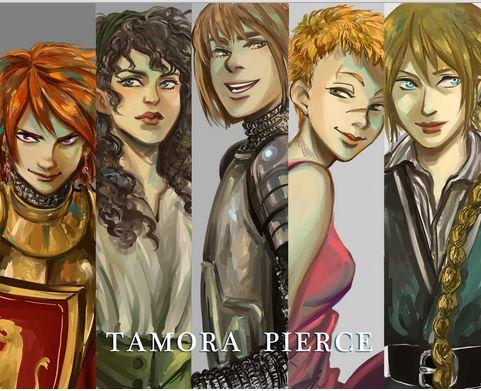 Tamora Pierce's Ladies drawn by Minuiko (Sir Alanna, Wildmage Daine, Lady Knight Kel, Spymaster Aly, and Guardswoman Beka)