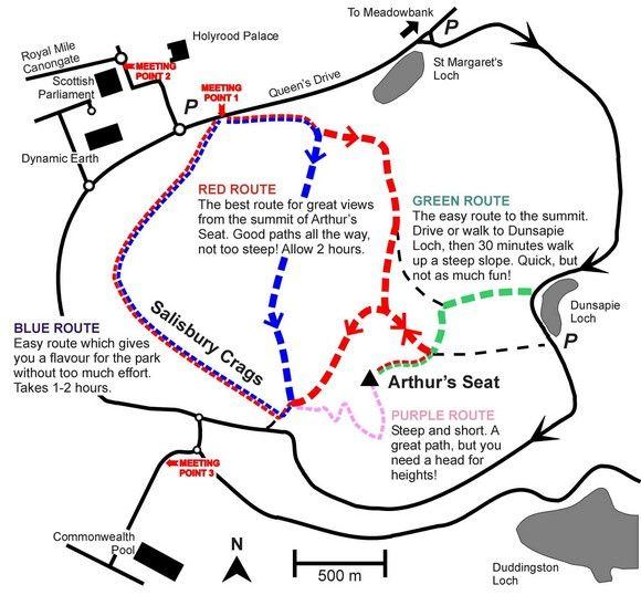 Arthurs Seat Walking Route Map by Geowalks
