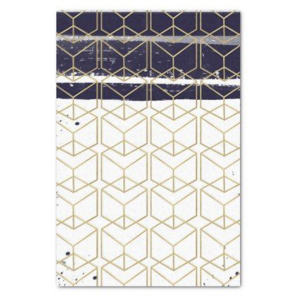 Hexagon Modern Navy Blue Gold Geometric Wedding Tissue Paper - trendy gifts cool gift ideas customize
