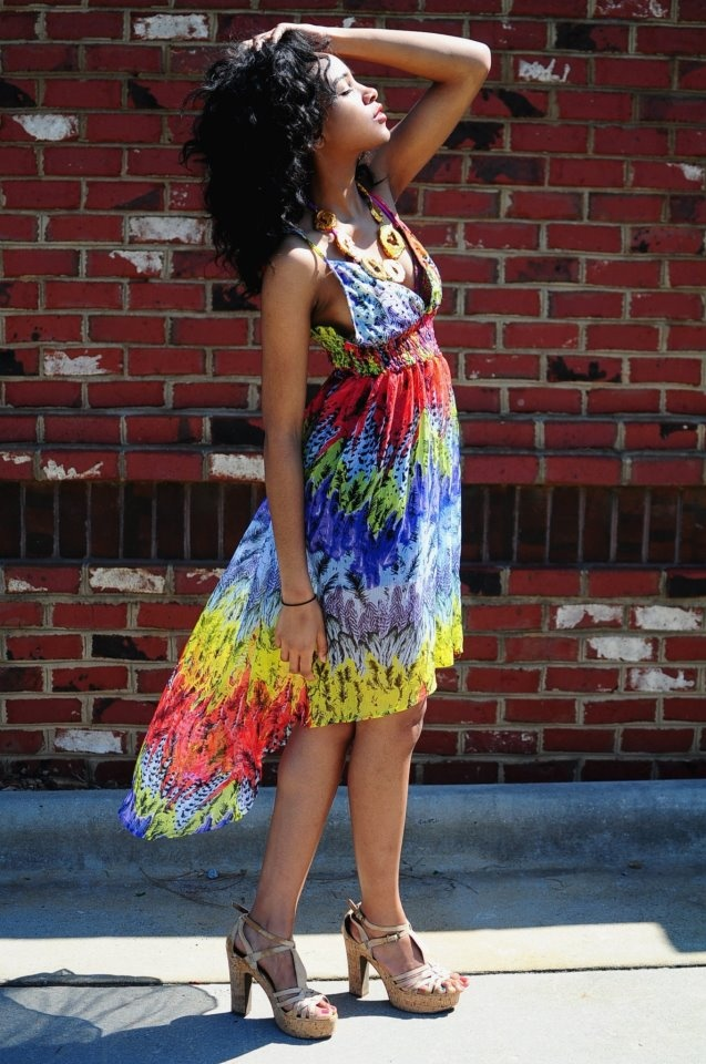 "Model & rising fashion designer, Jazsalyn McNeil in look 2 of 3, featuring ""The Gabriella"" Limited Edition Necklace By Dana LeBlanc Designs.  Photography By: Jon Millner   All clothing is Jazsalyn's own: Sheer asymmetrical hem Dress from TJ Maxx, Swimsuit from Aerie by American Eagle Outfitters, Cork platform sandals from ALDO Shoes.  http://jonmillnerblog.tumblr.com/"