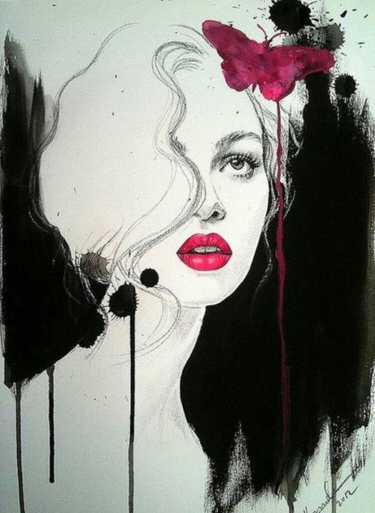 Черно красные картинки карандашом