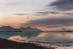 Sunset ovet Yr Eifl, an original watercolour painting by Rob Piercy
