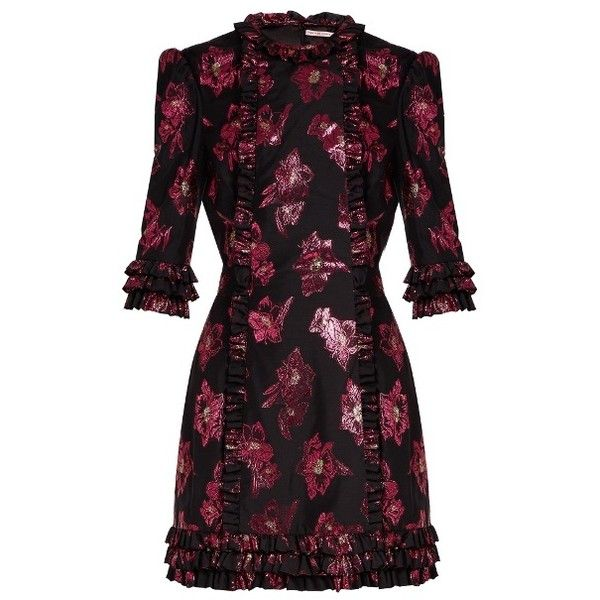 The Vampire's Wife Cate floral fil coupé mini dress (€1.025) ❤ liked on Polyvore featuring dresses, black pink, pink ruffle dress, pink mini dress, ruffle dress, metallic mini dress and flutter-sleeve dresses