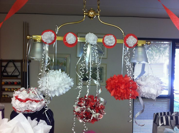 15 best conference room images on pinterest meeting for Hanging pom poms from ceiling