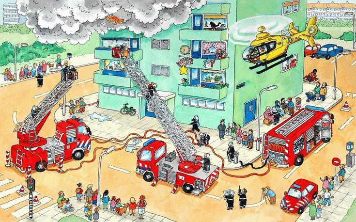 Praatplaat Bas - Brandweer (Getekend door Dagmar Stam)