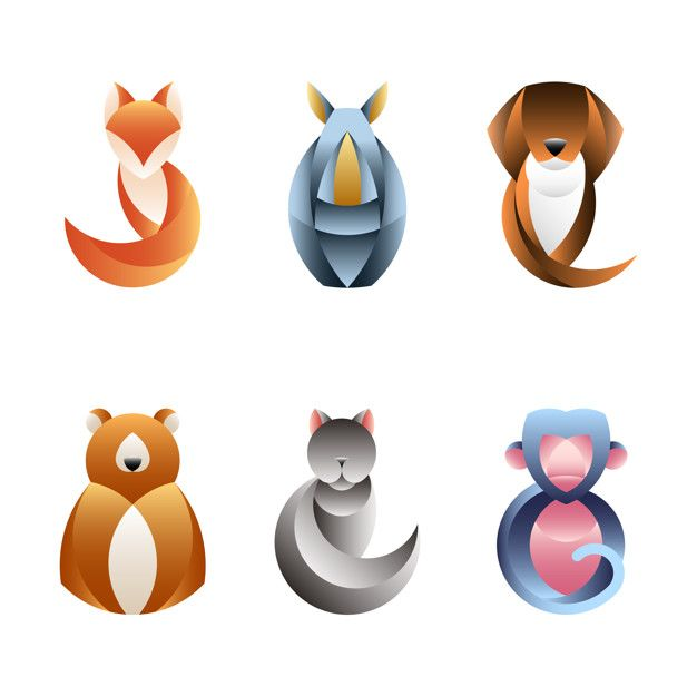 Download Set Of Geometrical Animal For Free Geometric Animals Vector Free Animal Design