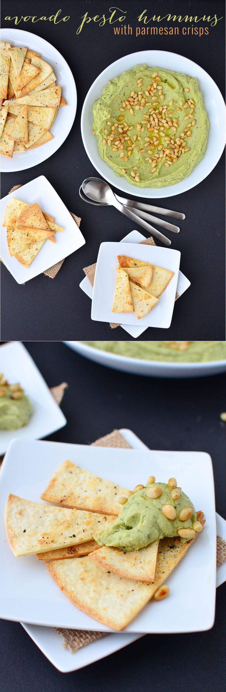 You've got to make this dip! Avocado Pesto Hummus with homemade parmesan crisps. | www.delishknowledge.com