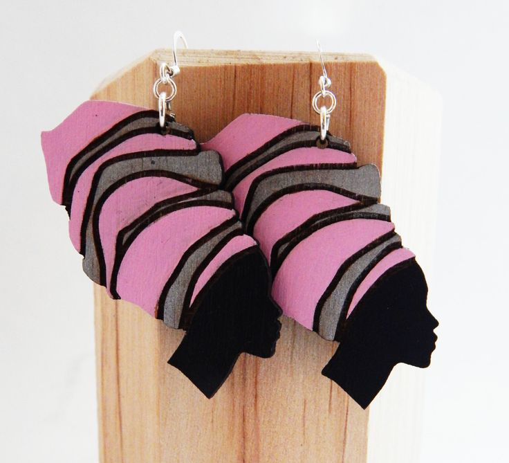 African Women Earrings Pink SIlver Handmade Afrocentric Cute Statement Wood Earrings African Jewelry Hip Hop Ethnic Headwrap Earrings Ladies - pinned by pin4etsy.com