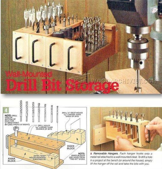 Wall-Mounted Drill Bit Storage - Drill Press Tips, Jigs and Fixtures   WoodArchivist.com