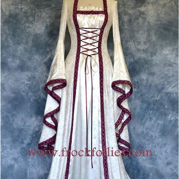 Renaissance Gown, Medieval Wedding Dress, Handfasting Dress, Elvish Gown, Pagan…