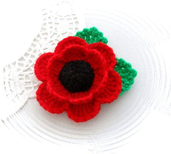 Crochet Brooch Red Poppy Flower Corsage Brooch by CraftsbySigita
