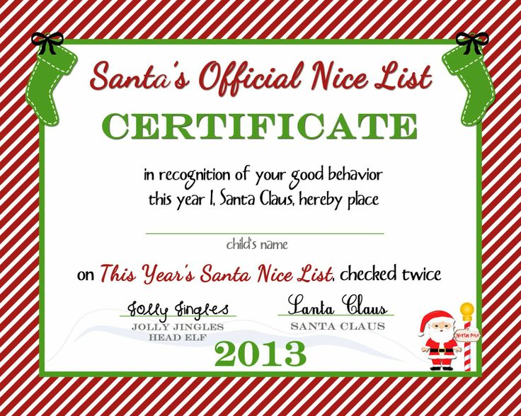 38 best Christmas for the kids images on Pinterest Certificate - free printable christmas gift certificate