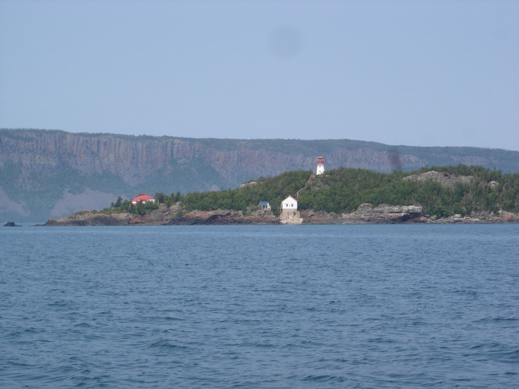 A view of Trowbridge light house and the body of the Sleeping Giant in the background. This what you see just before entering the bay of Thunder Bay